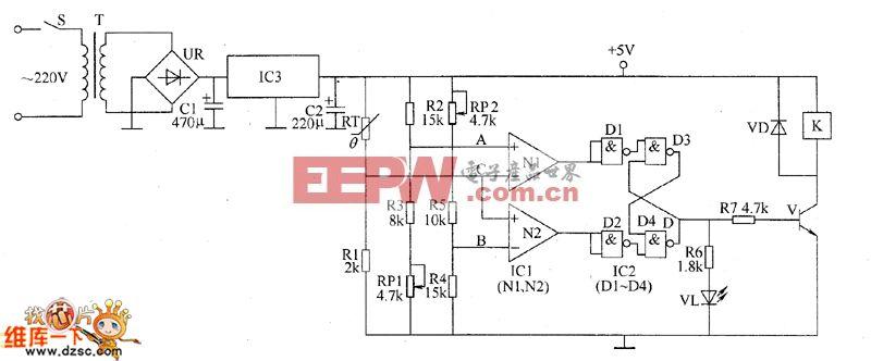 常压锅炉自动温度控制器电路图