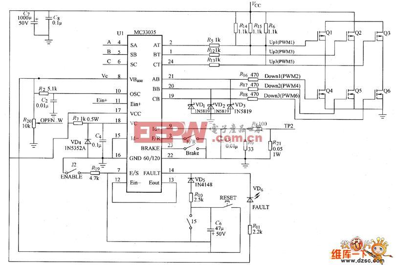 电路图 永磁 无刷直流电机 控制系统 三相 mc33035/三相永磁无刷直流电机MC33035控制系统电路图