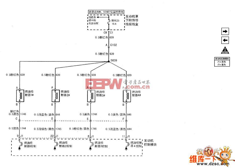 图1 上海通用别克君威(regal)轿车的2.0l(l34)发动机喷油器电路图