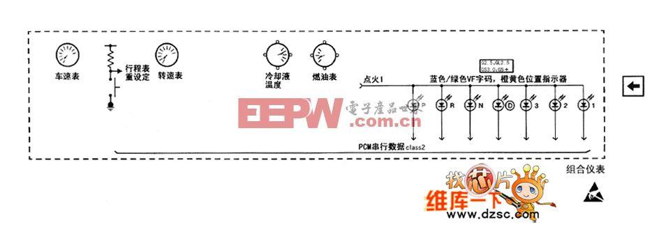 别克君威(regal)轿车的仪表板电路图(五)
