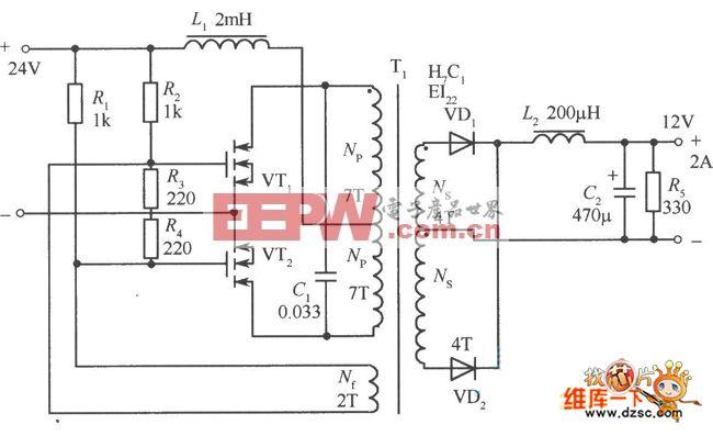 高效率的MOSFET共振式直流一直流变换器电路图