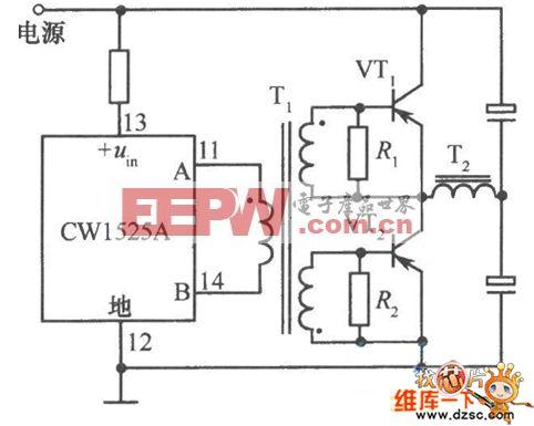 使用CWl525A驱动双极管的推挽式电路图