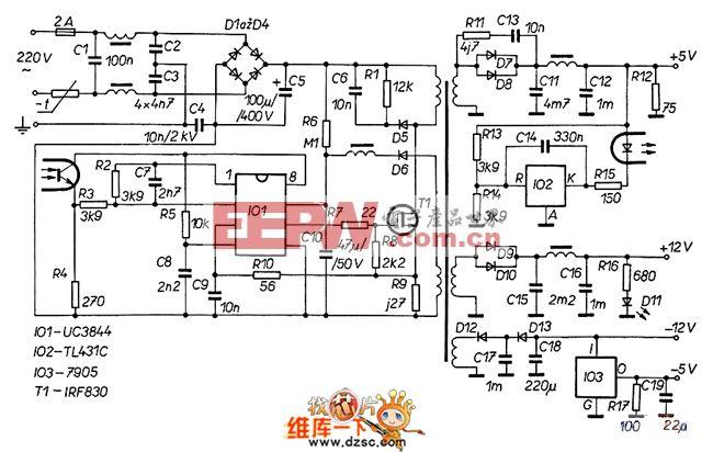 一种由UC3844组成的60W开关电源电路图