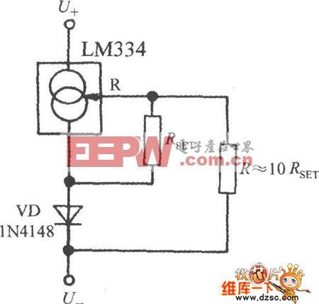 电路简便的接近于零温漂的恒流源电路图