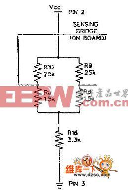 AWM3000系列气体质量流量传感器内部的双传感电路图