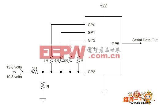基于PIC12C508单片机蓄电池监控电路图