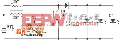 白光LED1.5V手电筒电路图