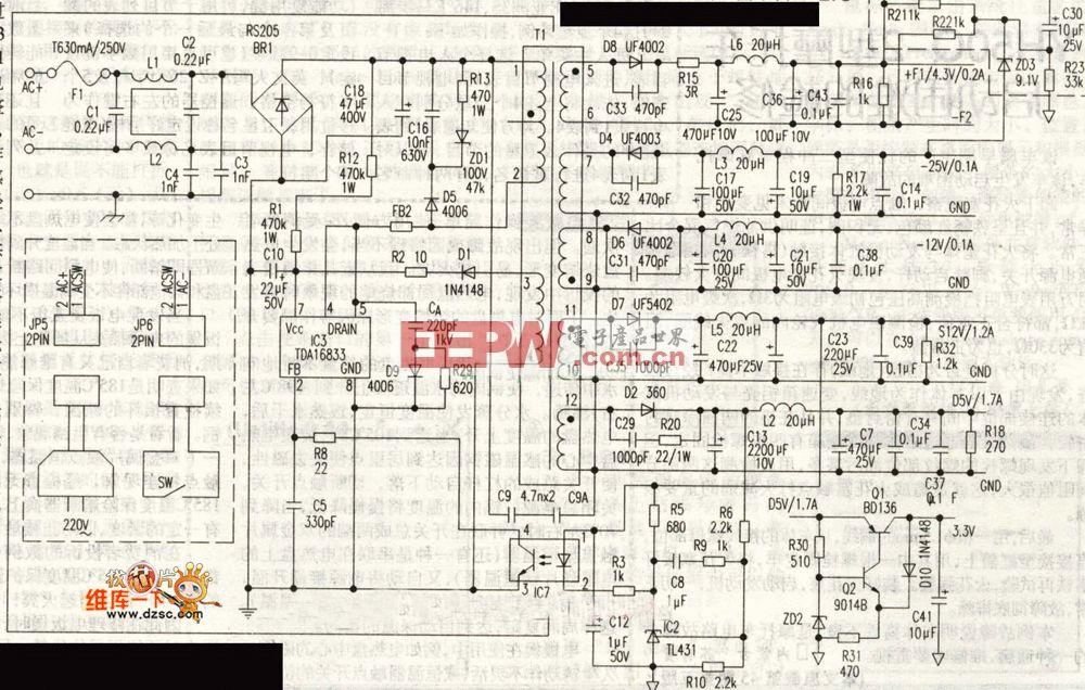 先科DVD(ALP-803K)开关电源路图