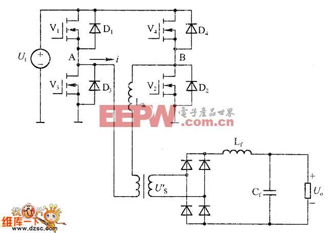 全桥ZVS-PWM转换器的主要电路原理图
