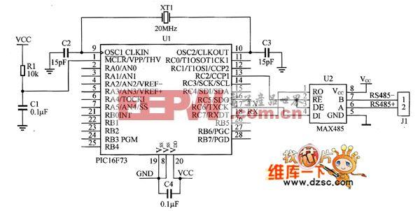 PIC16F73与MAX485接口的电路原理图如图