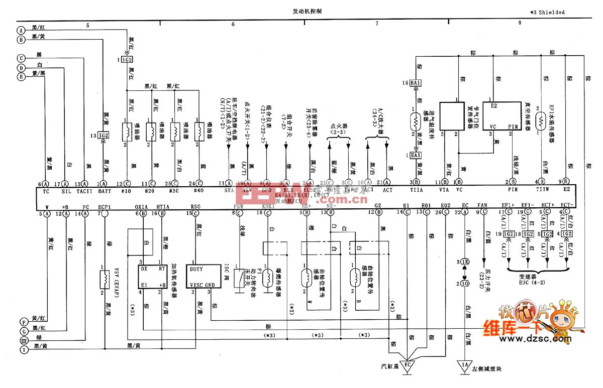 天津威驰发动机控制电路图 一高清图片