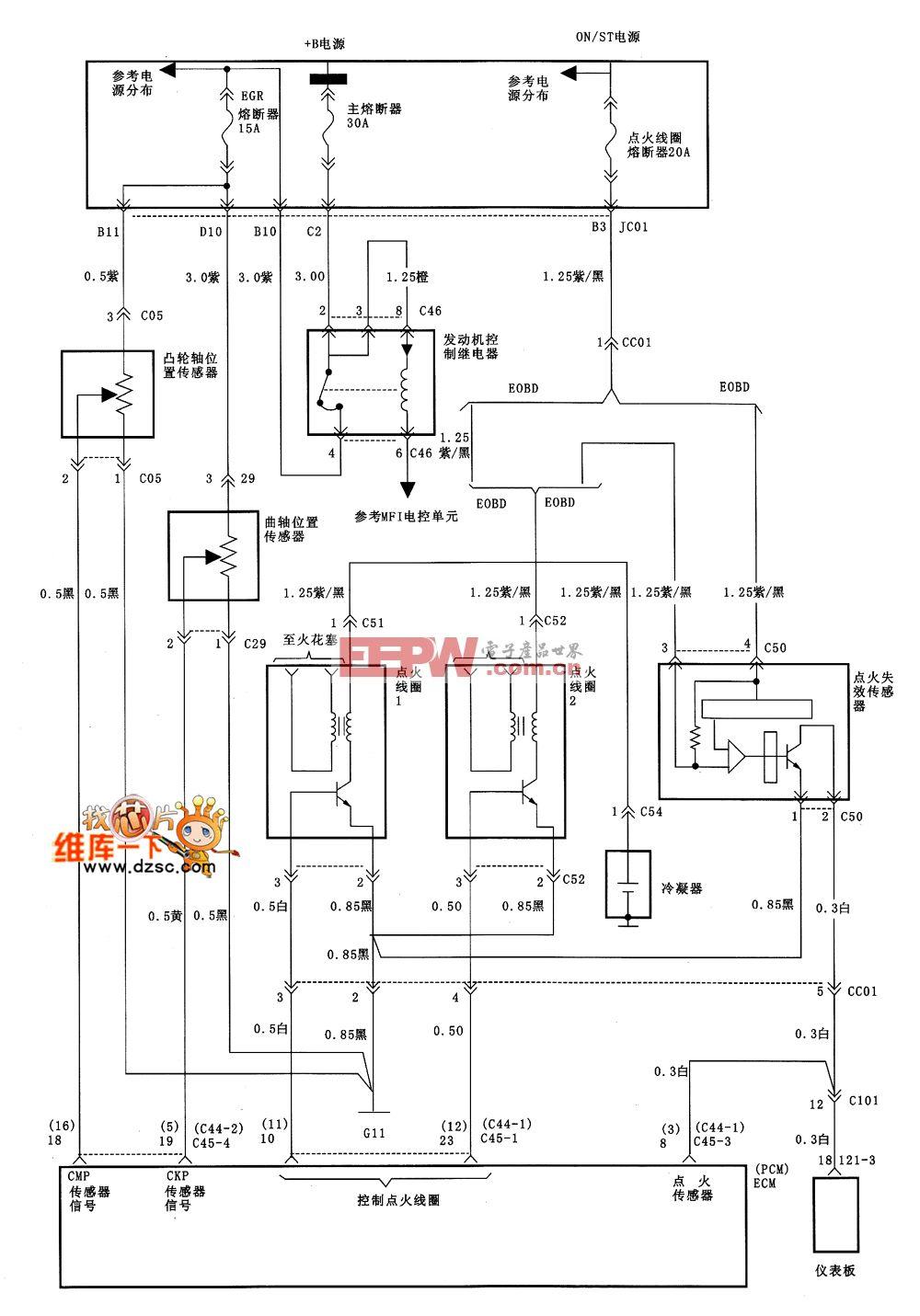 北京现代索纳塔点火系统电路图