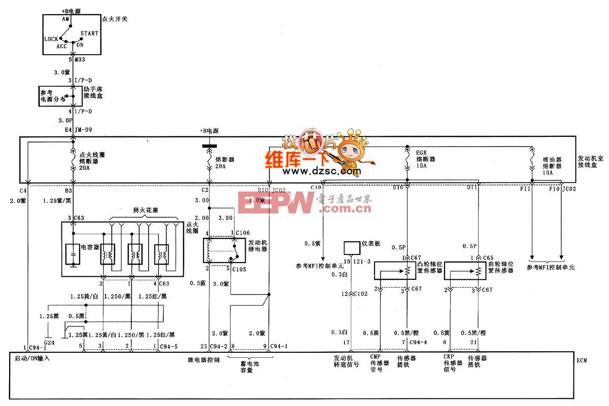 北京现代桑纳塔点火系统电路图(一)