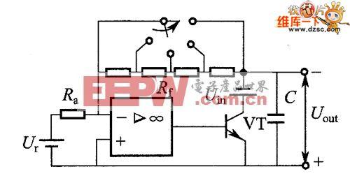 用外部电阻对稳压电源实施有源编程的电路图