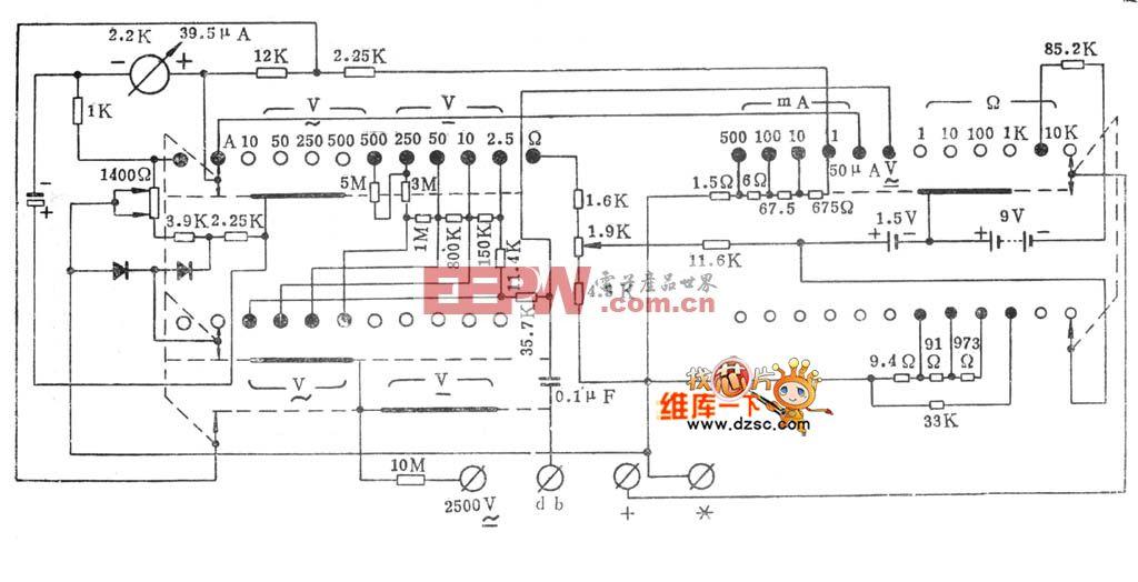 500型万用表电路原理图仪器仪表电路图