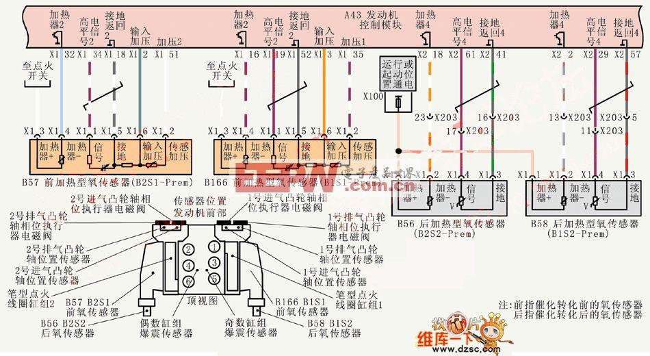 轿车氧传感器电路图