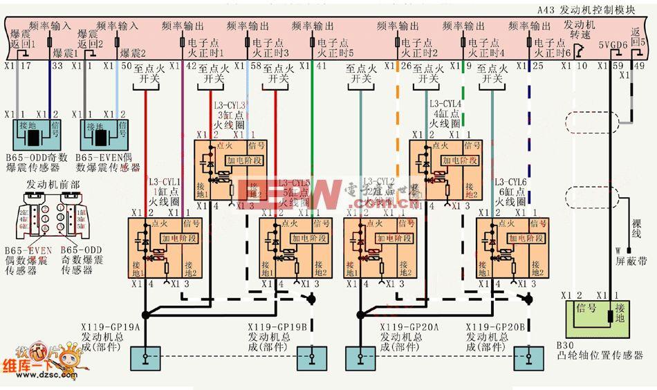 上海别克荣御V63.6L轿车点火和爆震控制电路图