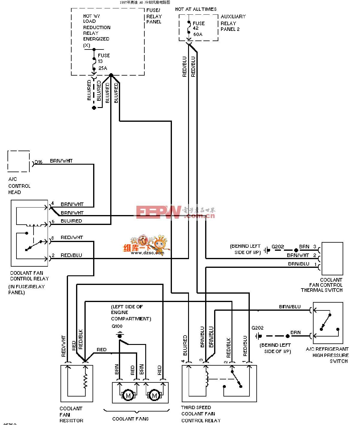 1997奥迪 a6 冷却风扇电路图