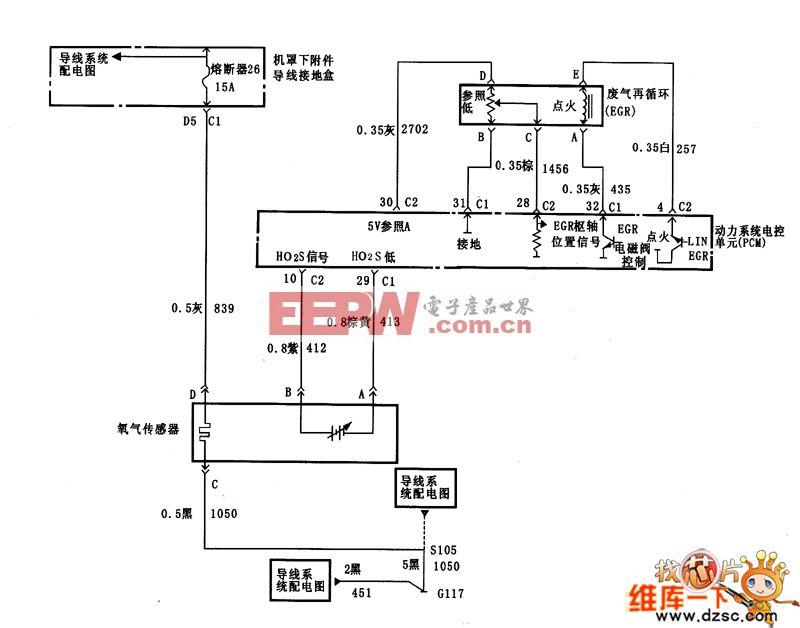 君威ho2x,egr和pcm控制电路图图片