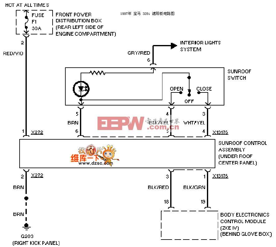 宝马97 328i遮阳板电路图