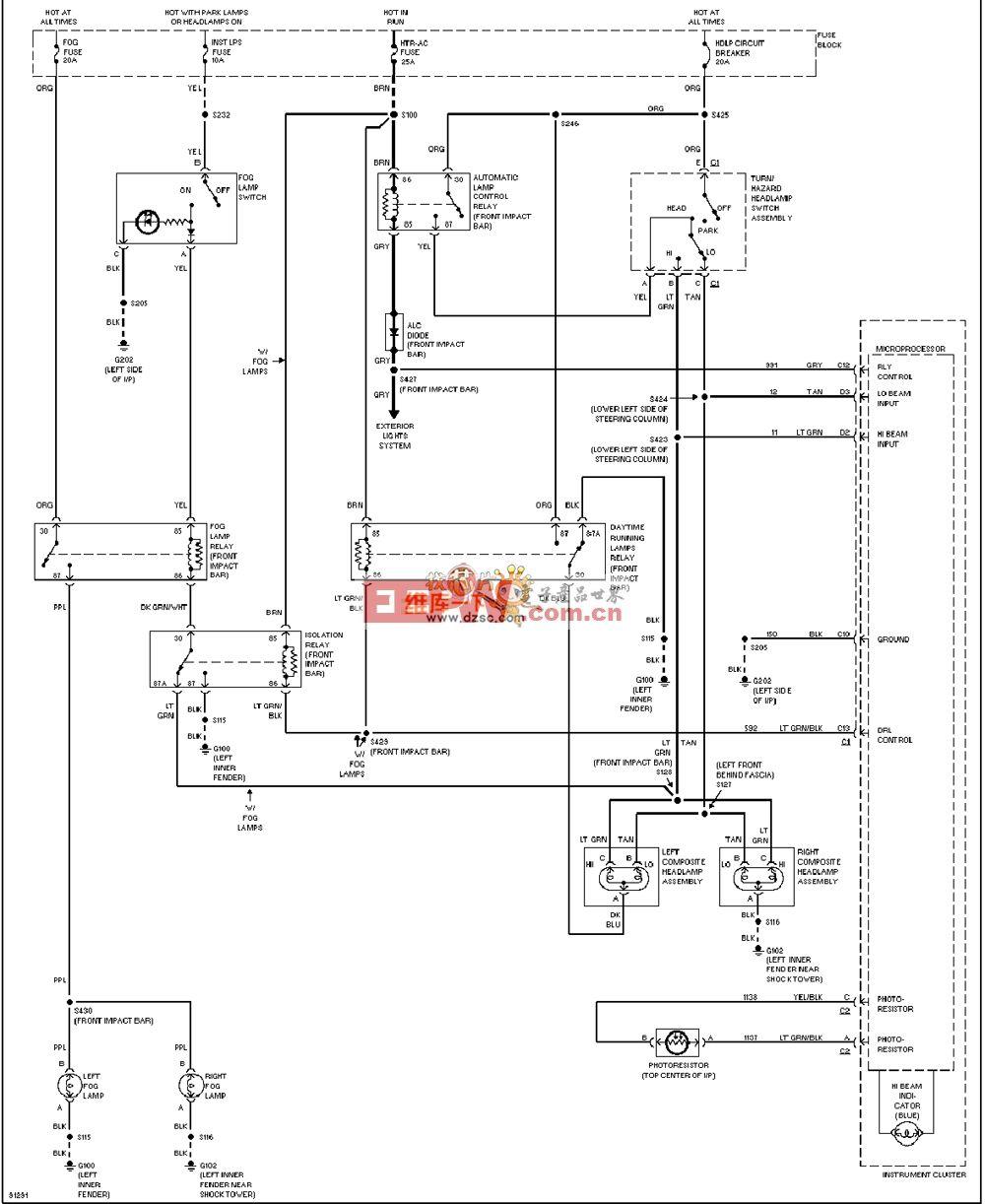 通用97奥兹莫比尔ACHIEVA大灯雾灯电路图