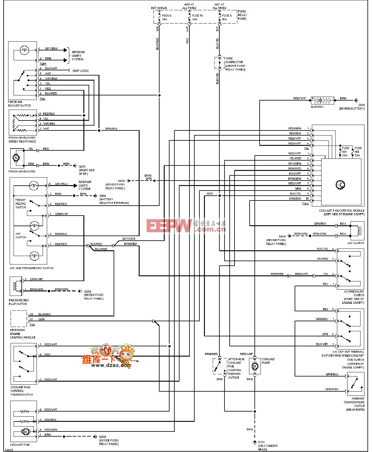 1995捷达 空调电路图(2.8l)