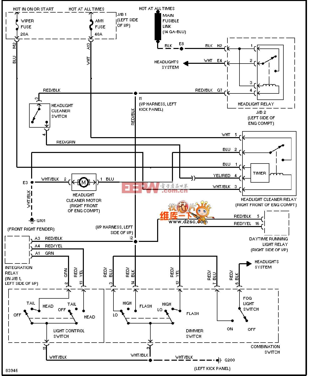 96年凌志es300大灯清洗器电路图