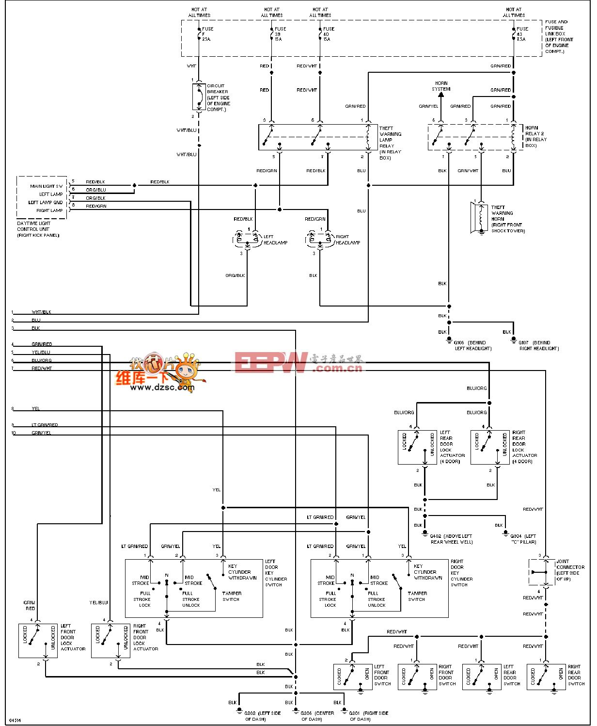 200SX-1996日产尼桑防盗系统电路图(加拿大)续图