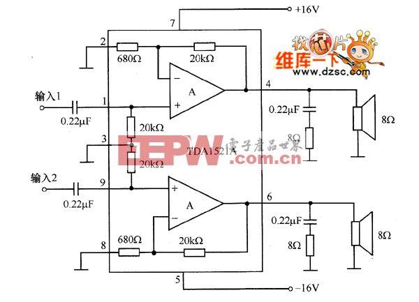 TDA1521A双声道集成功放电路图