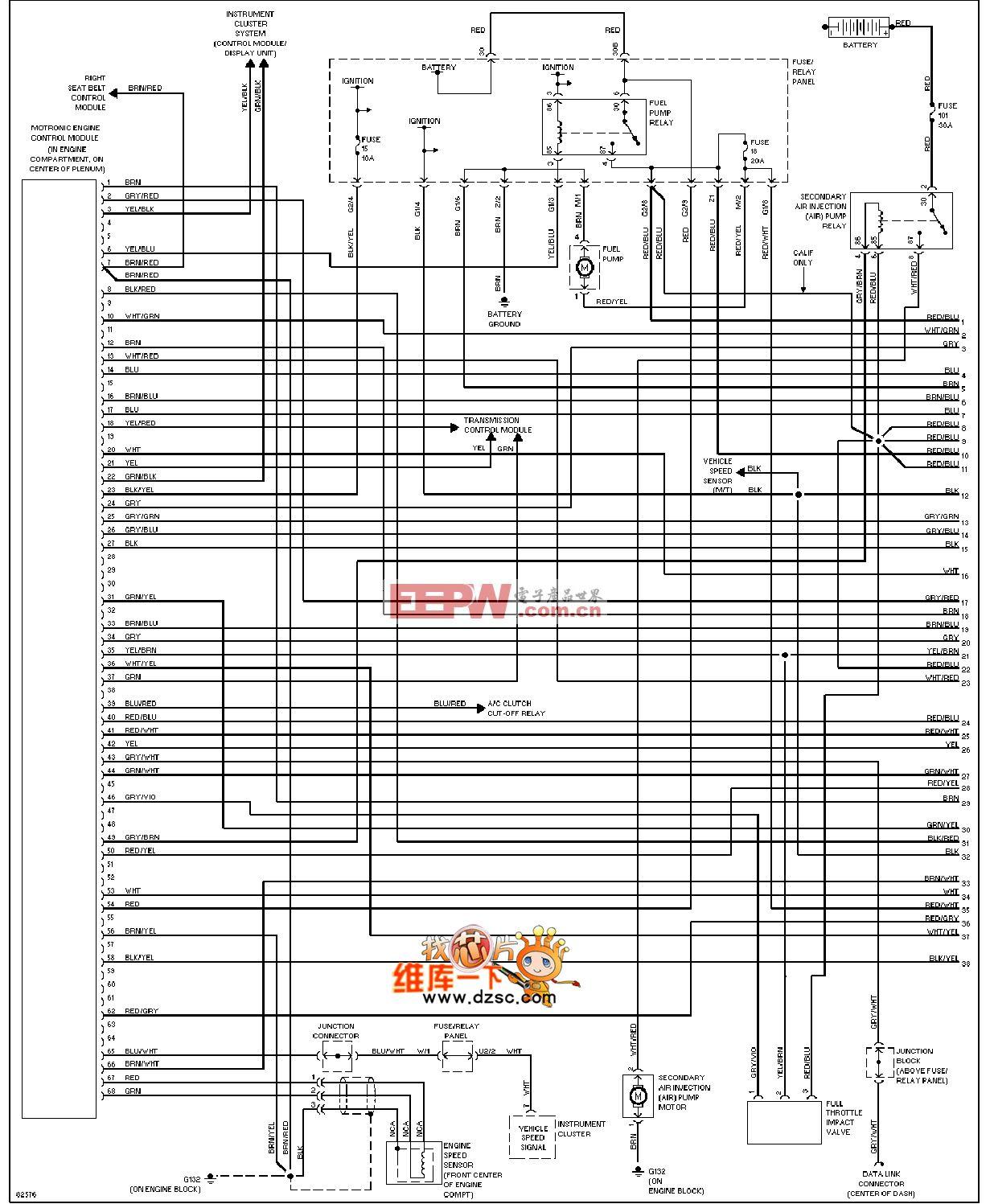 96大众捷达发动机性能电路图(2.0l)
