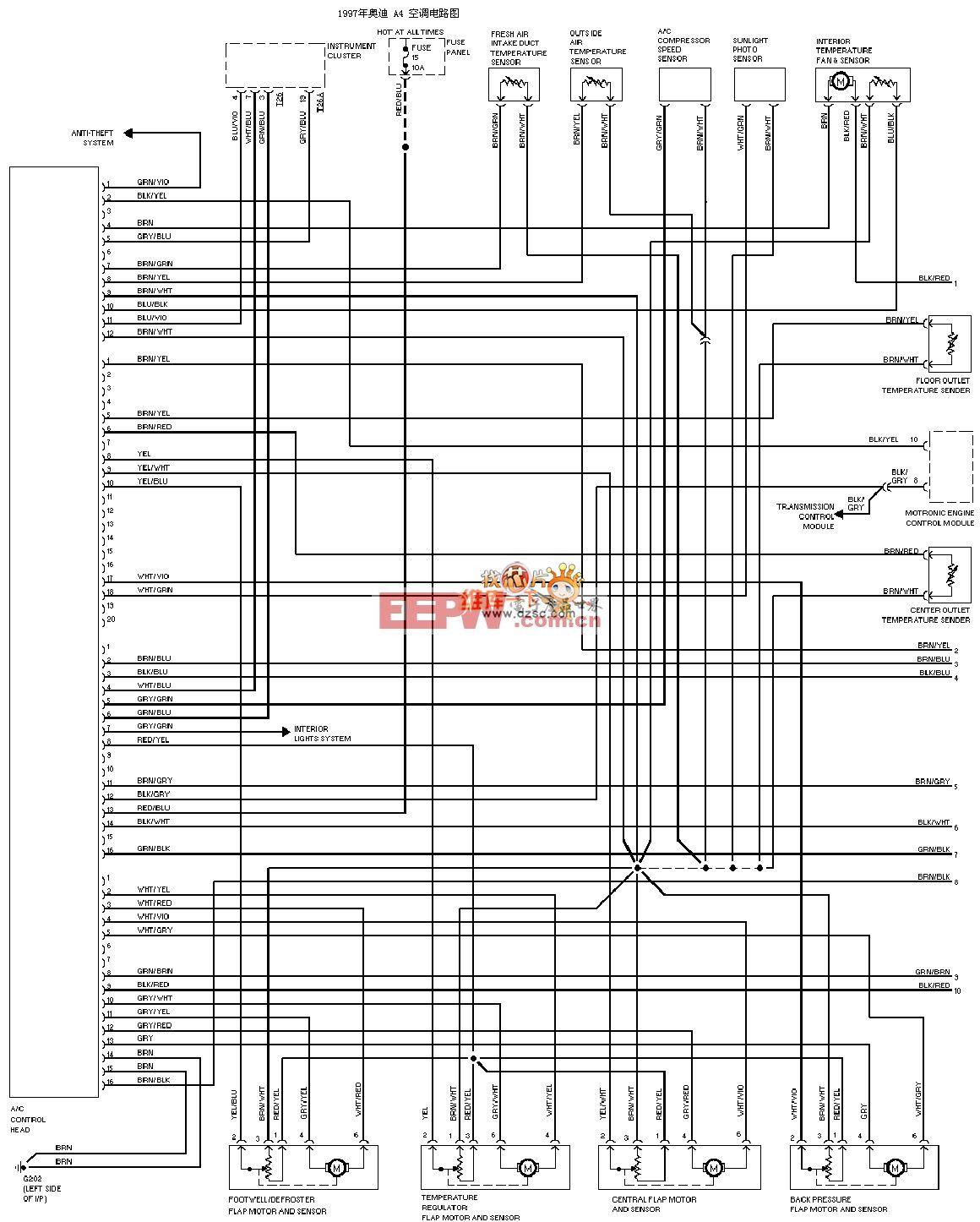 1997年奥迪 a4 空调电路图