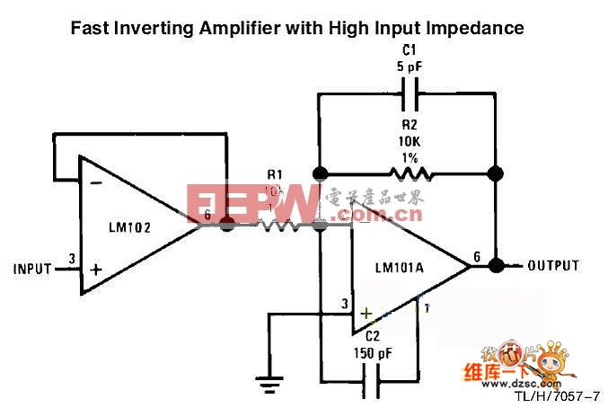 高速高输入阻抗反相放大器电路图