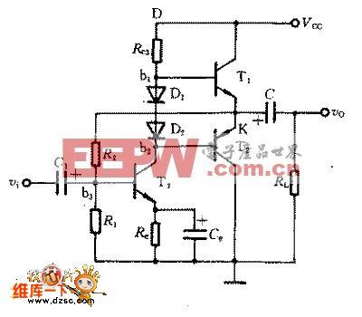 甲乙类双电源互补对称电路图