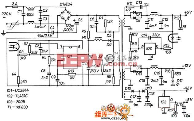 UC3844的60W开关电源电路图