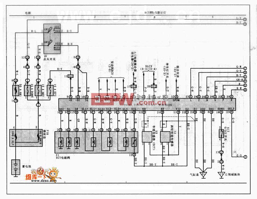丰田威驰轿车自动变速器控制电路图高清图片