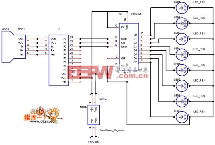 74HC595驱动LED电路图