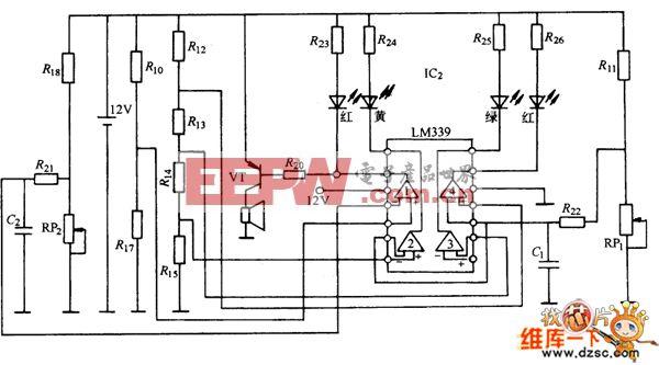 汽车电子仪表冷却液温度表、机油压力表电路图