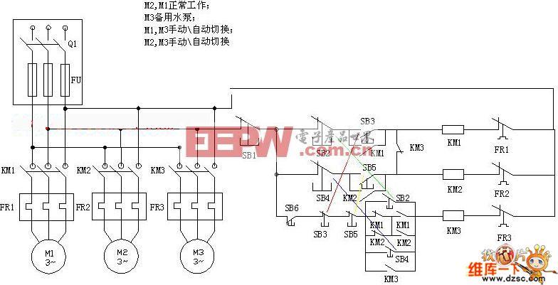 PLC控制水泵电机接线原理电路图图片