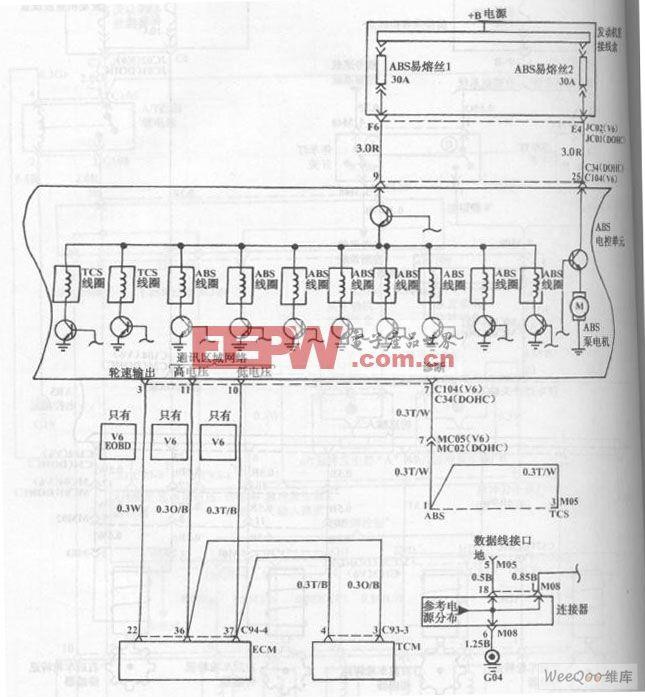 现代索那塔轿车防抱死制动系统/牵引力控制系统电路图二