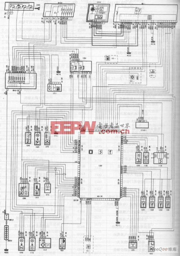 索轿车2.0L发动机喷射 点火电路图高清图片