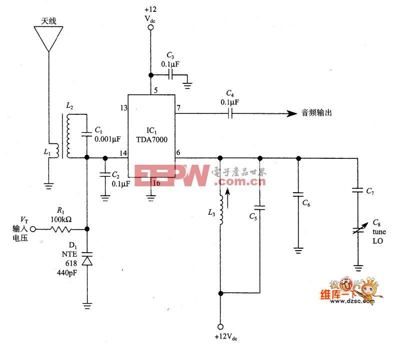 使用TDA-7000芯片的直接变频接收机电路图