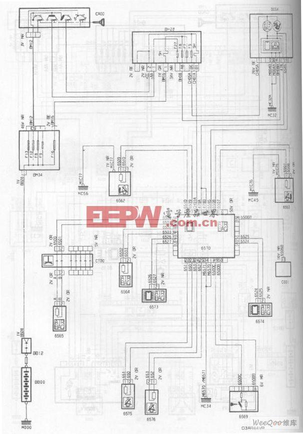 神龙毕加索2.0L轿车安全气囊/预张紧安全带电路图