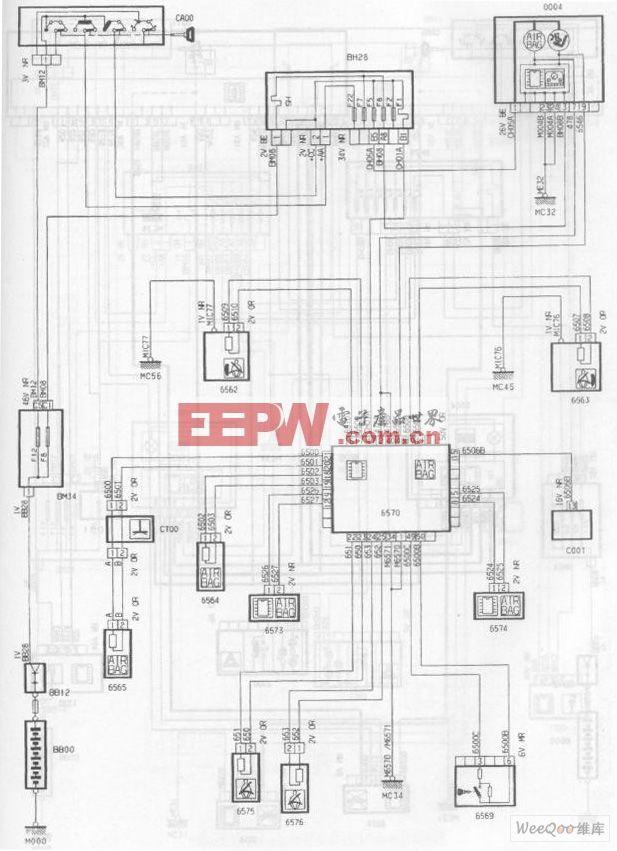 神龙毕加索1.6L轿车安全气囊/预张紧安全带电路图