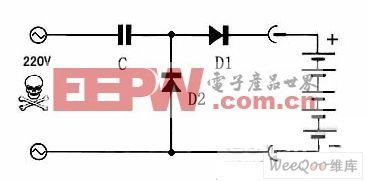 三个元器件组成的简单镍镉电池充电电路图