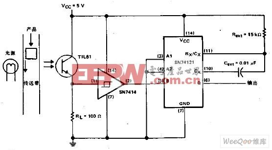 利用中断光束的脉冲发生器电路图