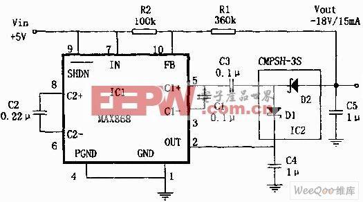 微型5V转12V升压变换器电路图 -综合电路图