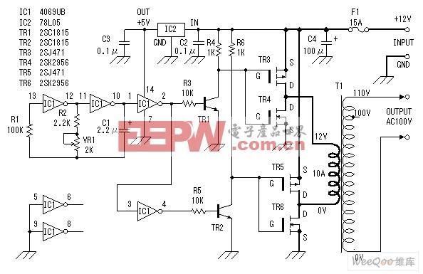 直流12V转交流100V逆变器电源电路图图片