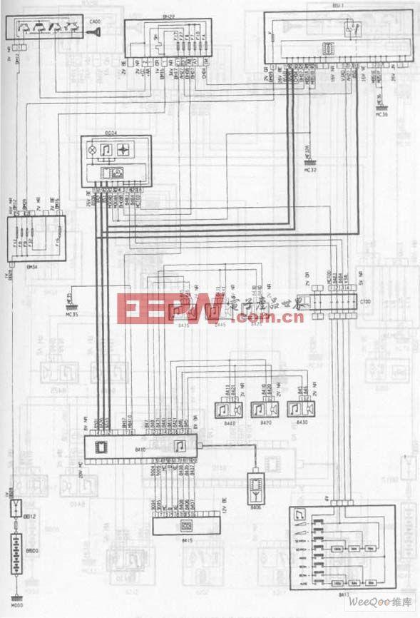 神龙毕加索2.0L轿车收放机电路图