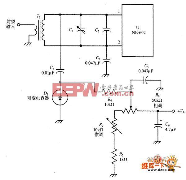 NE-602的变容二极管调谐输入电路图