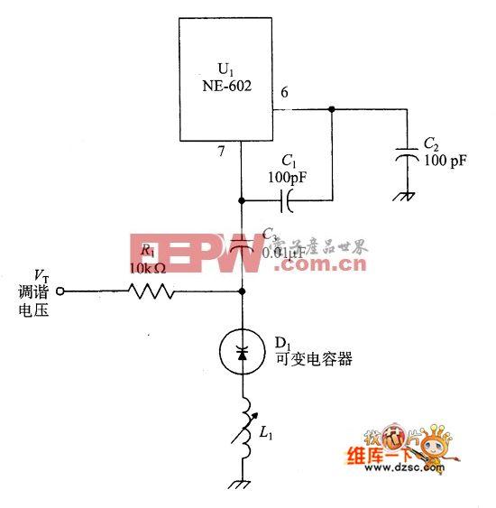 电压调谐的NE-602振荡器电路图